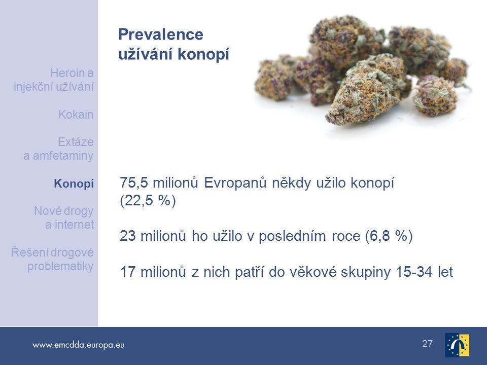 27 75,5 milionů Evropanů někdy užilo konopí (22,5 %) 23 milionů ho užilo v posledním roce (6,8 %) 17 milionů z nich patří do věkové skupiny 15-34 let Prevalence užívání konopí Heroin a injekční užívání Kokain Extáze a amfetaminy Konopí Nové drogy a internet Řešení drogové problematiky