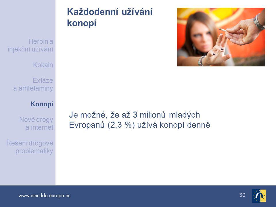 30 Každodenní užívání konopí Je možné, že až 3 milionů mladých Evropanů (2,3 %) užívá konopí denně Heroin a injekční užívání Kokain Extáze a amfetaminy Konopí Nové drogy a internet Řešení drogové problematiky