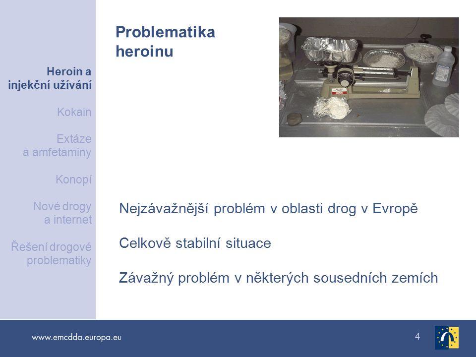 4 Nejzávažnější problém v oblasti drog v Evropě Celkově stabilní situace Závažný problém v některých sousedních zemích Problematika heroinu Heroin a injekční užívání Kokain Extáze a amfetaminy Konopí Nové drogy a internet Řešení drogové problematiky