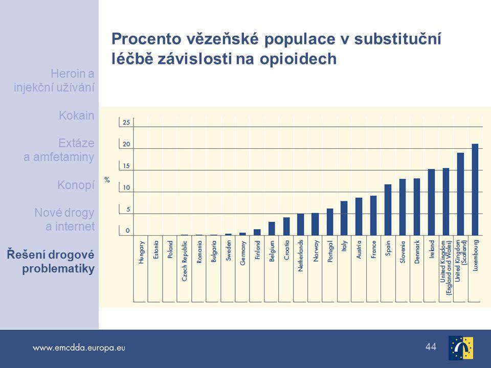44 Procento vězeňské populace v substituční léčbě závislosti na opioidech Heroin a injekční užívání Kokain Extáze a amfetaminy Konopí Nové drogy a internet Řešení drogové problematiky
