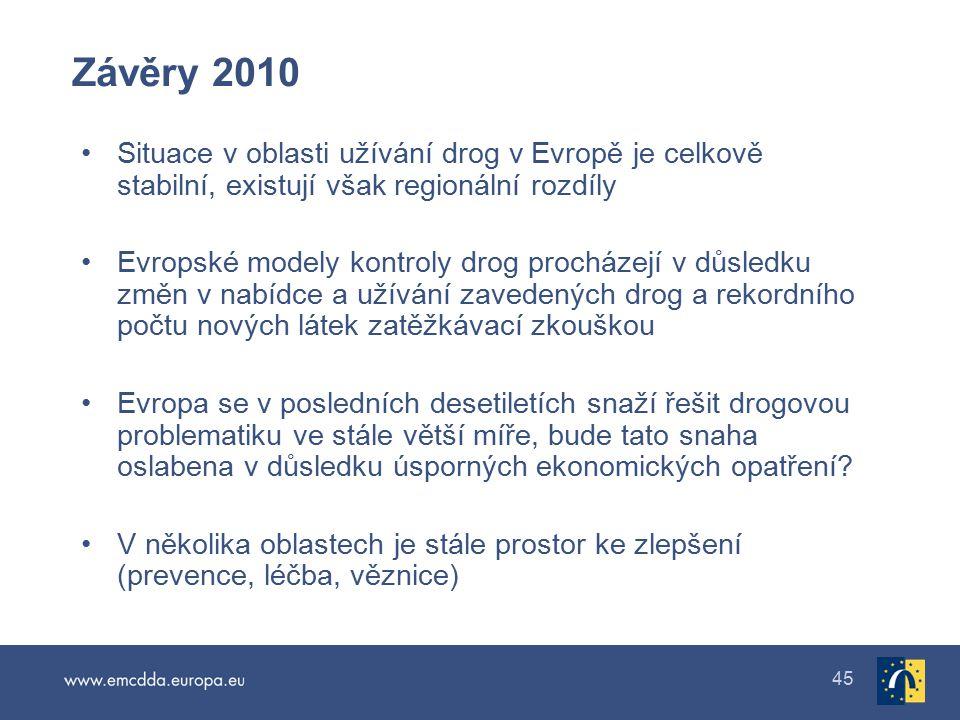 45 Závěry 2010 Situace v oblasti užívání drog v Evropě je celkově stabilní, existují však regionální rozdíly Evropské modely kontroly drog procházejí v důsledku změn v nabídce a užívání zavedených drog a rekordního počtu nových látek zatěžkávací zkouškou Evropa se v posledních desetiletích snaží řešit drogovou problematiku ve stále větší míře, bude tato snaha oslabena v důsledku úsporných ekonomických opatření.