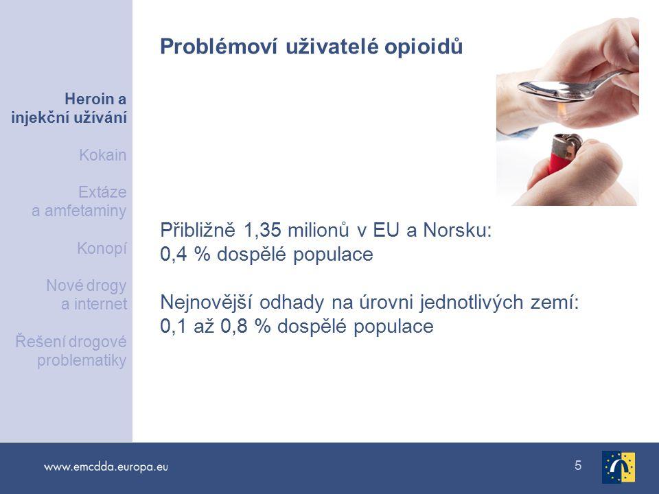 6 750 000 až 1 000 000 osob v EU a Norsku — 0,26 % dospělé populace Snížení podílu injekčních uživatelů mezi uživateli opioidů nastupujícími léčbu Injekční uživatelé Heroin a injekční užívání Kokain Extáze a amfetaminy Konopí Nové drogy a internet Řešení drogové problematiky