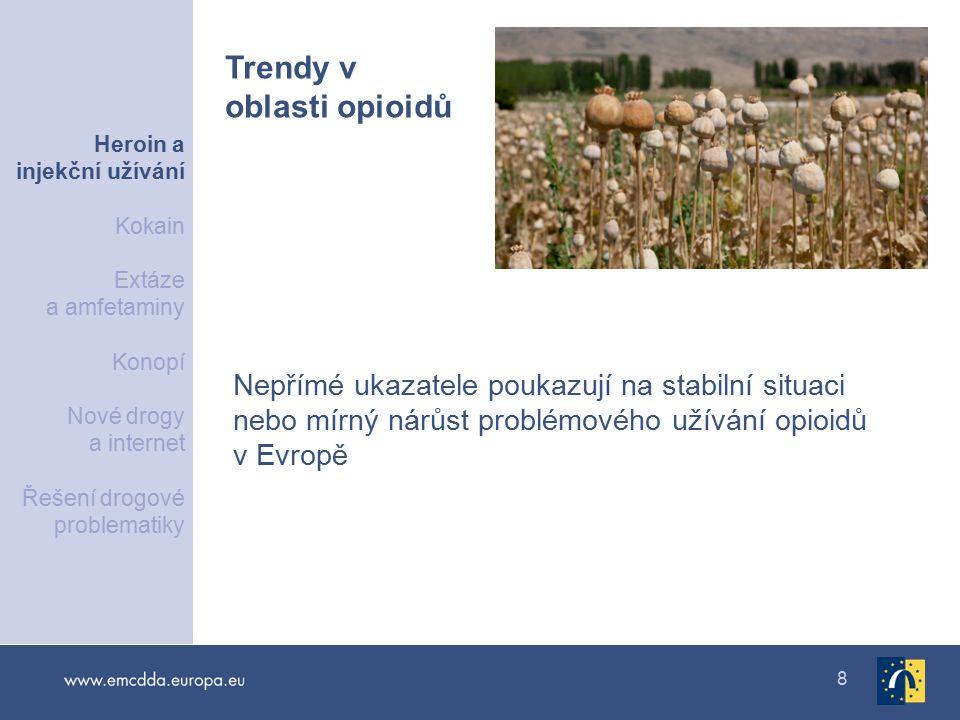 8 Nepřímé ukazatele poukazují na stabilní situaci nebo mírný nárůst problémového užívání opioidů v Evropě Trendy v oblasti opioidů Heroin a injekční užívání Kokain Extáze a amfetaminy Konopí Nové drogy a internet Řešení drogové problematiky
