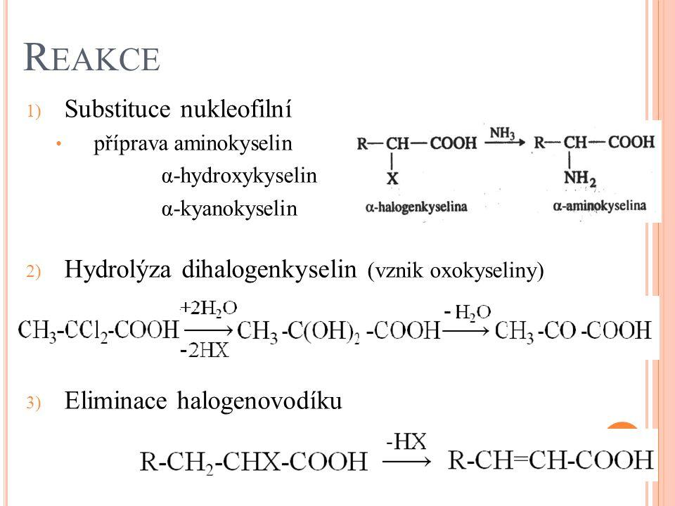 R EAKCE 1) Substituce nukleofilní příprava aminokyselin α-hydroxykyselin α-kyanokyselin 2) Hydrolýza dihalogenkyselin (vznik oxokyseliny) 3) Eliminace