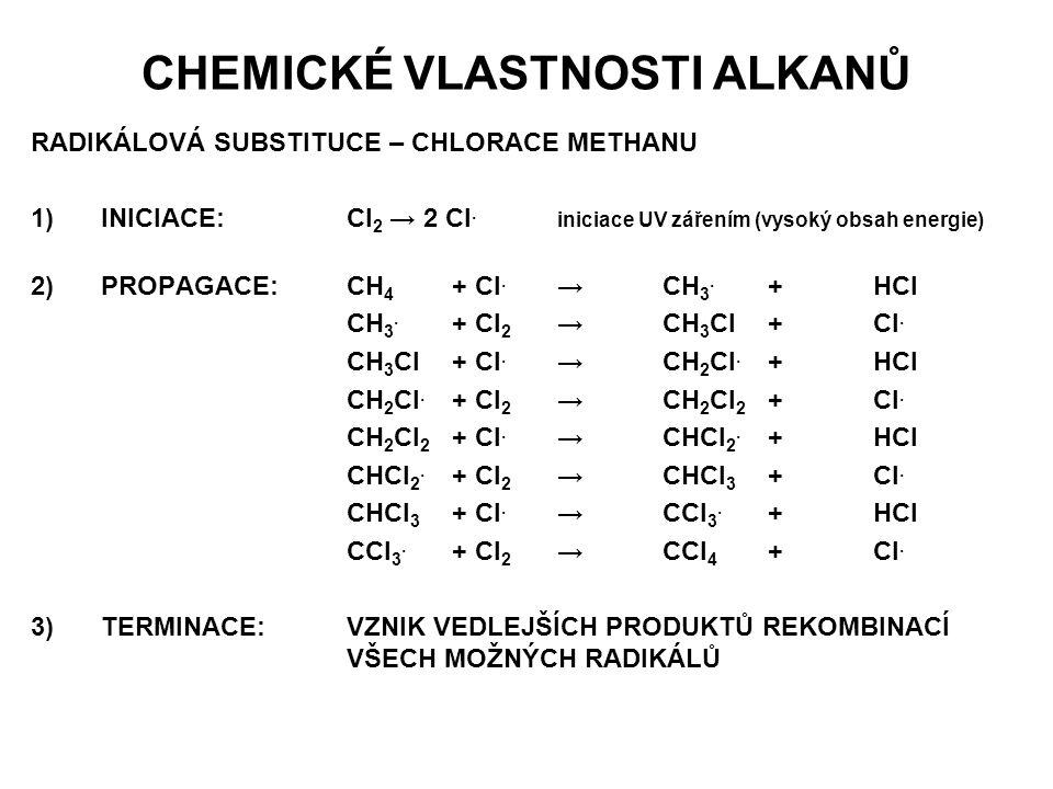 CHEMICKÉ VLASTNOSTI ALKANŮ RADIKÁLOVÁ SUBSTITUCE – CHLORACE METHANU 1)INICIACE:Cl 2 → 2 Cl. iniciace UV zářením (vysoký obsah energie) 2)PROPAGACE:CH