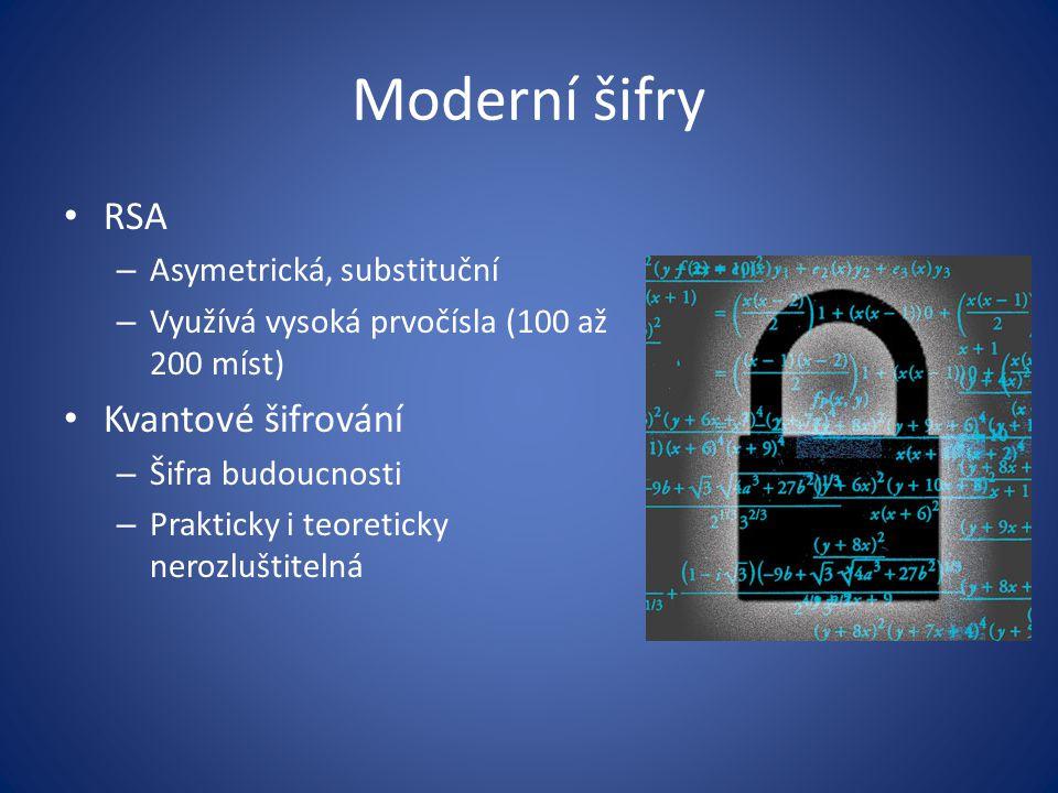Moderní šifry RSA – Asymetrická, substituční – Využívá vysoká prvočísla (100 až 200 míst) Kvantové šifrování – Šifra budoucnosti – Prakticky i teoreticky nerozluštitelná