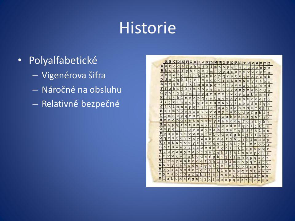 Historie Polyalfabetické – Vigenérova šifra – Náročné na obsluhu – Relativně bezpečné