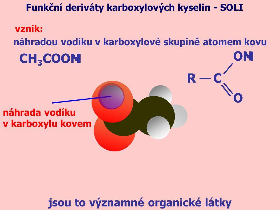 náhradou vodíku v karboxylové skupině atomem kovu Funkční deriváty karboxylových kyselin - SOLI vznik: CH 3 COOH náhrada vodíku v karboxylu kovem jsou to významné organické látky CH 3 COOM R OH O CR OM O C
