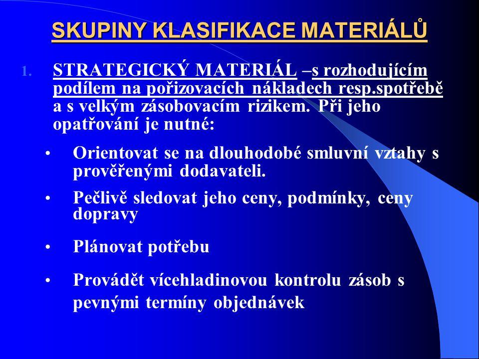 SKUPINY KLASIFIKACE MATERIÁLŮ 1. STRATEGICKÝ MATERIÁL –s rozhodujícím podílem na pořizovacích nákladech resp.spotřebě a s velkým zásobovacím rizikem.