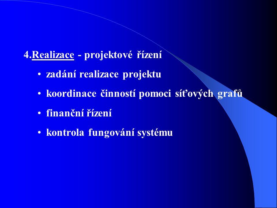 4.Realizace - projektové řízení zadání realizace projektu koordinace činností pomoci síťových grafů finanční řízení kontrola fungování systému