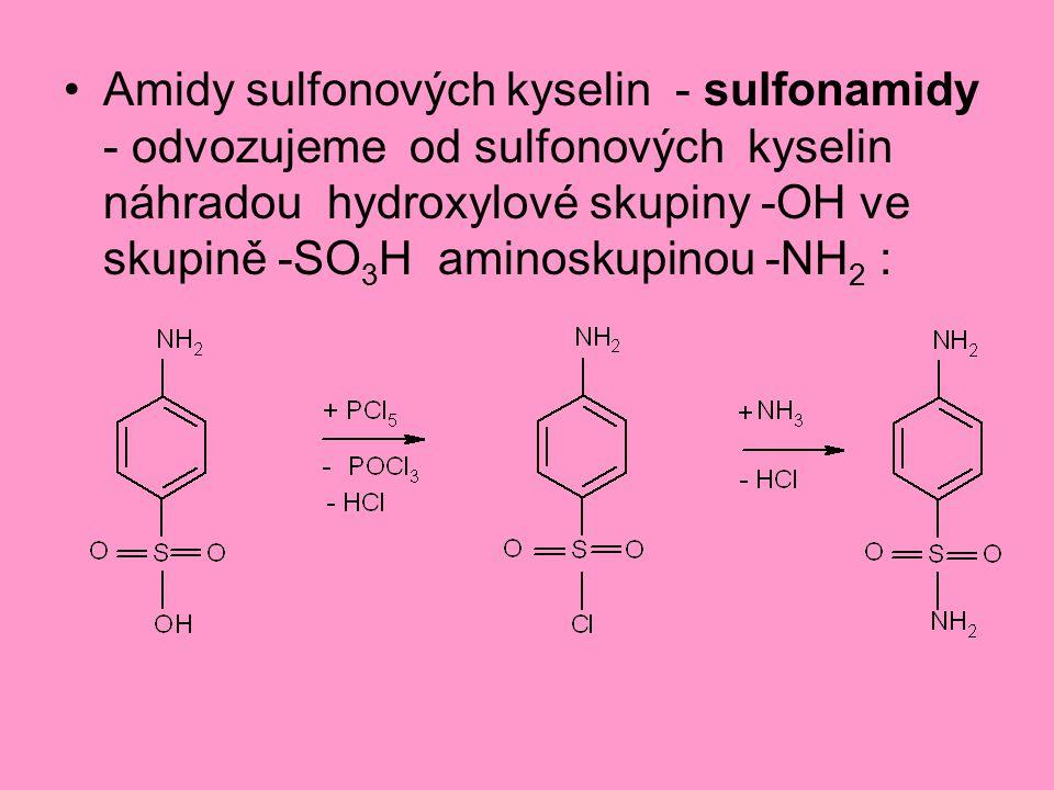 Amidy sulfonových kyselin - sulfonamidy - odvozujeme od sulfonových kyselin náhradou hydroxylové skupiny -OH ve skupině -SO 3 H aminoskupinou -NH 2 :
