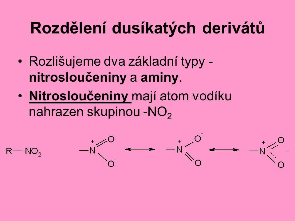 Rozdělení dusíkatých derivátů Rozlišujeme dva základní typy - nitrosloučeniny a aminy. Nitrosloučeniny mají atom vodíku nahrazen skupinou -NO 2