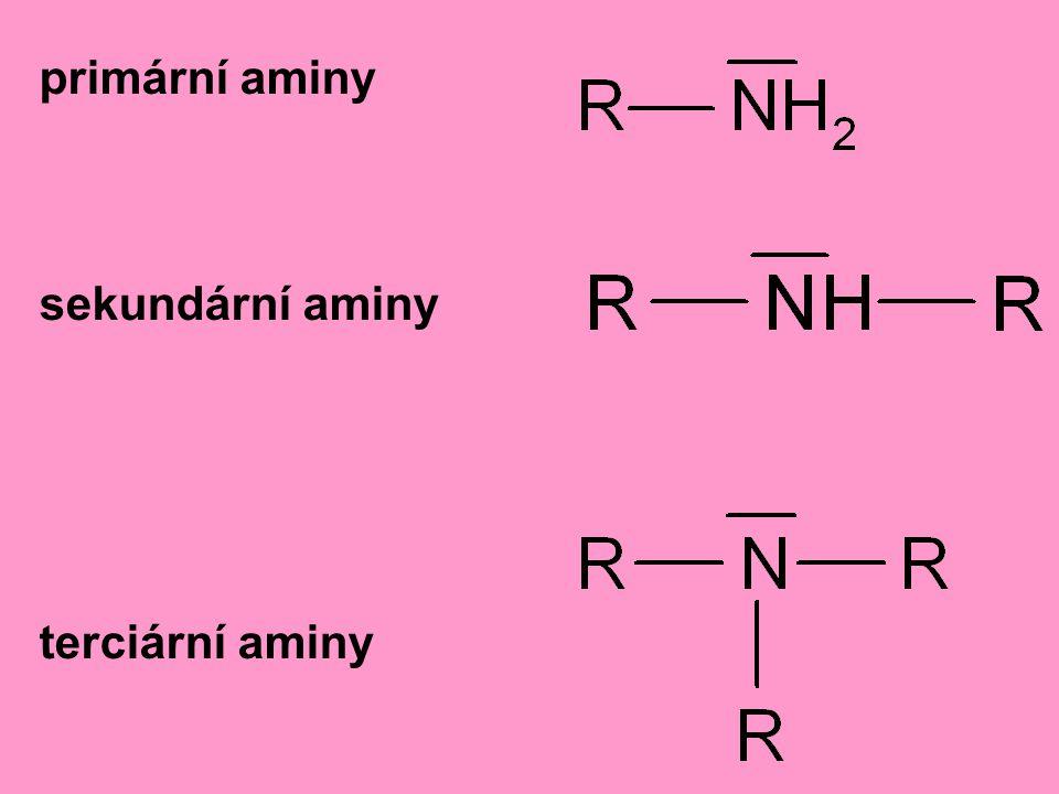 primární aminy sekundární aminy terciární aminy