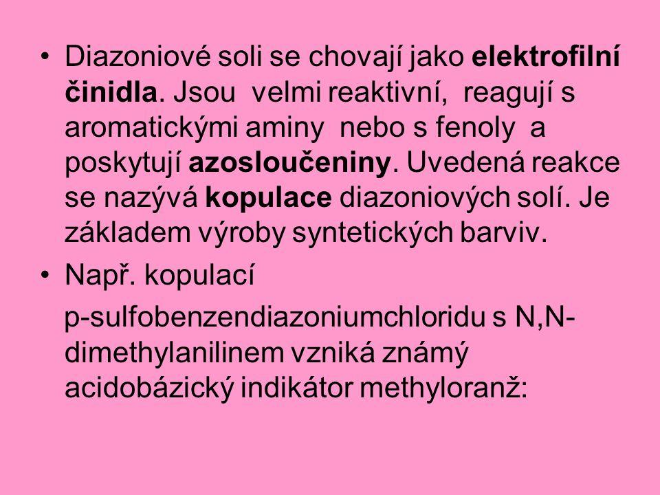 Diazoniové soli se chovají jako elektrofilní činidla. Jsou velmi reaktivní, reagují s aromatickými aminy nebo s fenoly a poskytují azosloučeniny. Uved