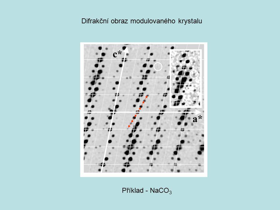 Příklad - NaCO 3 Difrakční obraz modulovaného krystalu