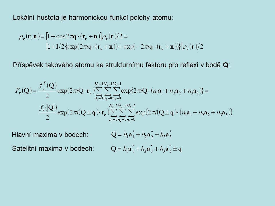 Lokální hustota je harmonickou funkcí polohy atomu: Příspěvek takového atomu ke strukturnímu faktoru pro reflexi v bodě Q: Hlavní maxima v bodech: Sat