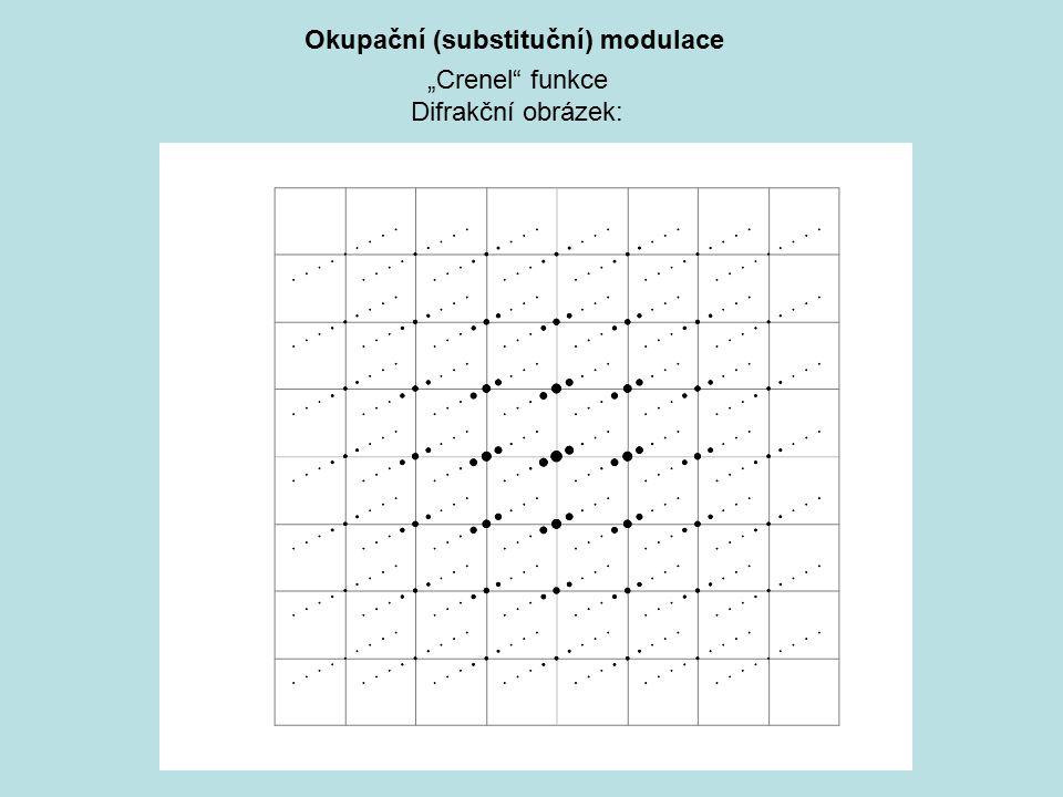 """Okupační (substituční) modulace """"Crenel"""" funkce Difrakční obrázek:"""