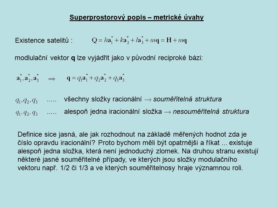Superprostorový popis – metrické úvahy Existence satelitů : modlulační vektor q lze vyjádřit jako v původní reciproké bázi: ..... všechny složky raci