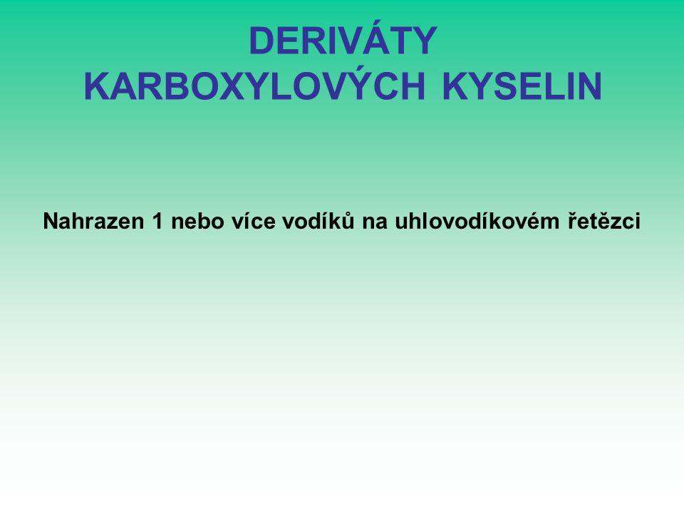 ZÁKLADNÍ NÁZVOSLOVÍ Odvozeno od základních karboxylových kyselin: HYDROXYDERIVÁTY : předpona hydroxy-HYDROXYDERIVÁTY HALOGENDERIVÁTY: předpona halogen-HALOGENDERIVÁTY AMINODERIVÁTY: předpona amino-AMINODERIVÁTY