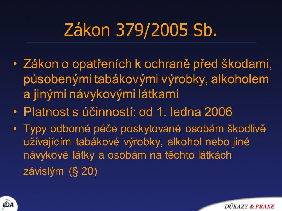 Zákon 379/2005 Sb. Zákon o opatřeních k ochraně před škodami, působenými tabákovými výrobky, alkoholem a jinými návykovými látkami Platnost s účinnost