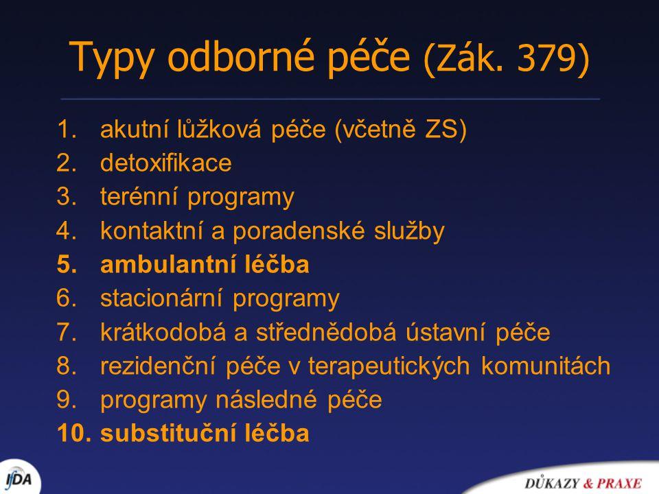 Typy odborné péče (Zák. 379) 1.akutní lůžková péče (včetně ZS) 2.detoxifikace 3.terénní programy 4.kontaktní a poradenské služby 5.ambulantní léčba 6.