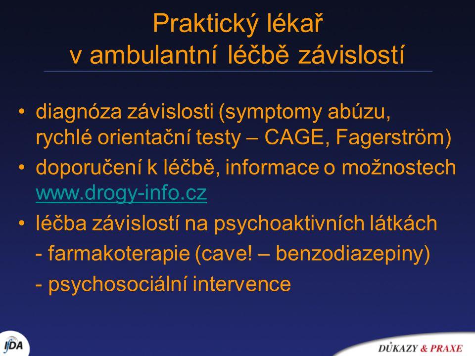 Praktický lékař v ambulantní léčbě závislostí diagnóza závislosti (symptomy abúzu, rychlé orientační testy – CAGE, Fagerström) doporučení k léčbě, inf