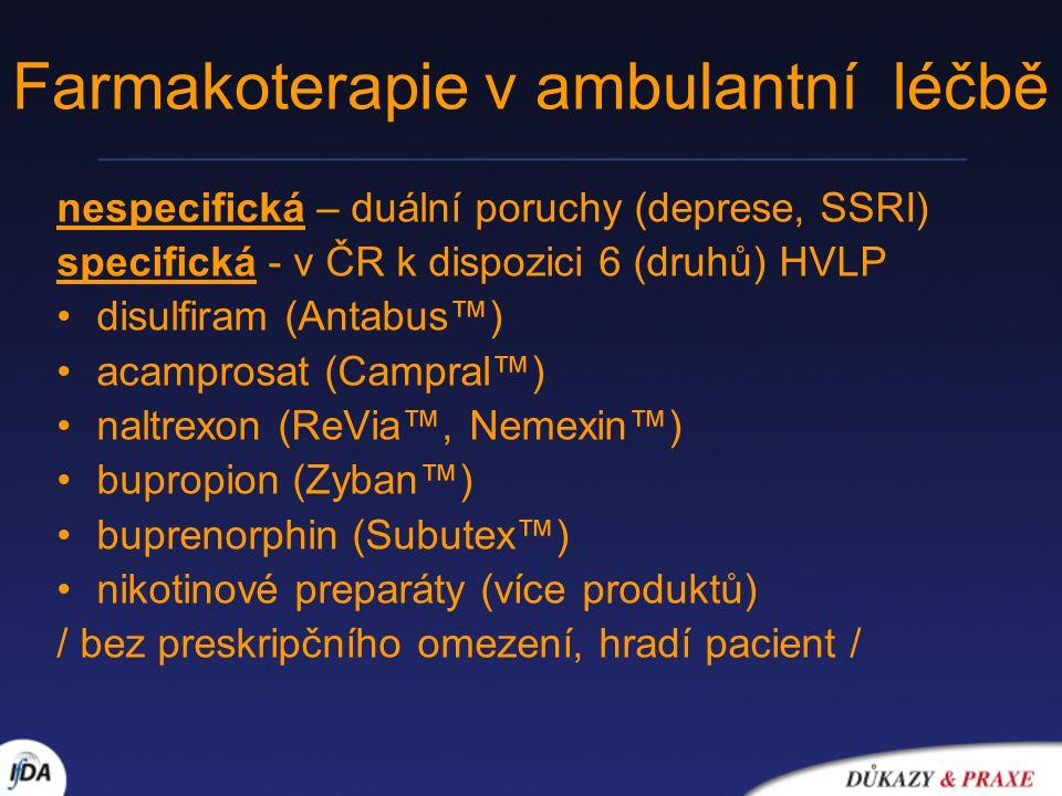 Farmakoterapie v ambulantní léčbě nespecifická – duální poruchy (deprese, SSRI) specifická - v ČR k dispozici 6 (druhů) HVLP disulfiram (Antabus™) acamprosat (Campral™) naltrexon (ReVia™, Nemexin™) bupropion (Zyban™) buprenorphin (Subutex™) nikotinové preparáty (více produktů) / bez preskripčního omezení, hradí pacient /