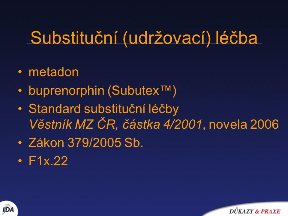 Substituční (udržovací) léčba metadon buprenorphin (Subutex™) Standard substituční léčby Věstník MZ ČR, částka 4/2001, novela 2006 Zákon 379/2005 Sb.