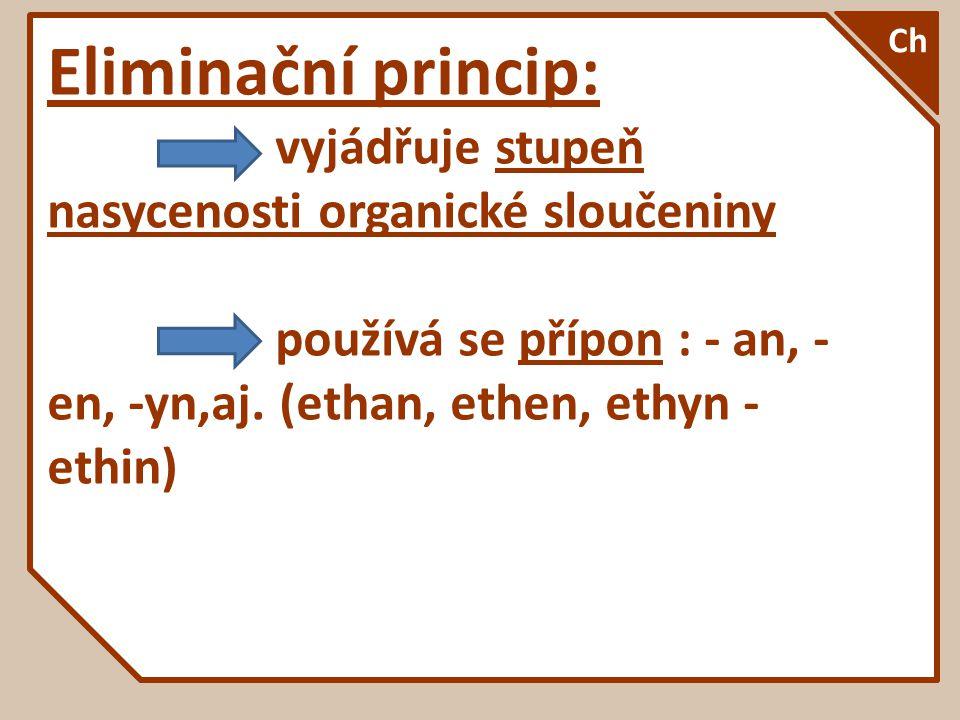 Eliminační princip: vyjádřuje stupeň nasycenosti organické sloučeniny používá se přípon : - an, - en, -yn,aj. (ethan, ethen, ethyn - ethin) Ch