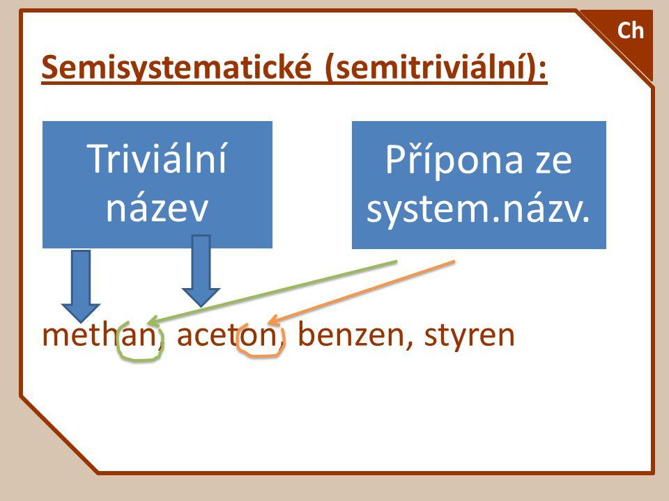 Semisystematické (semitriviální): methan, aceton, benzen, styren Ch Triviální název Přípona ze system.názv.