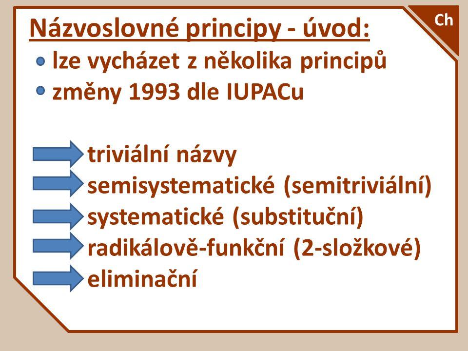 Názvoslovné principy - úvod: lze vycházet z několika principů změny 1993 dle IUPACu triviální názvy semisystematické (semitriviální) systematické (sub