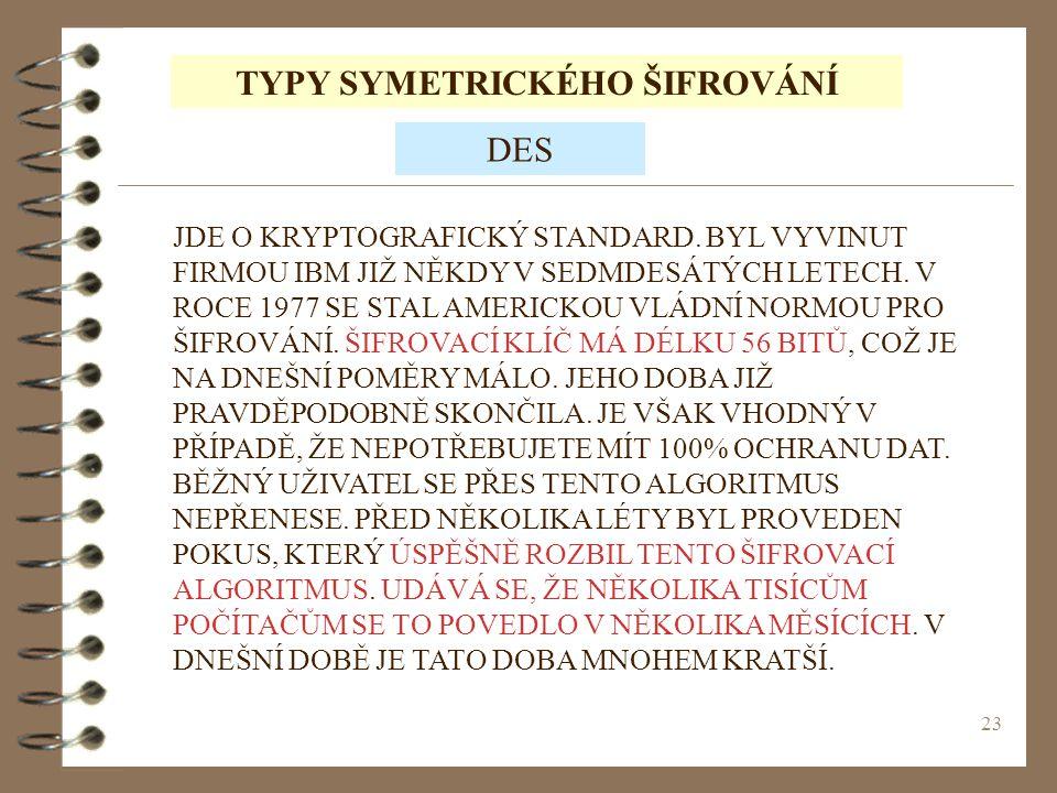 23 TYPY SYMETRICKÉHO ŠIFROVÁNÍ JDE O KRYPTOGRAFICKÝ STANDARD.