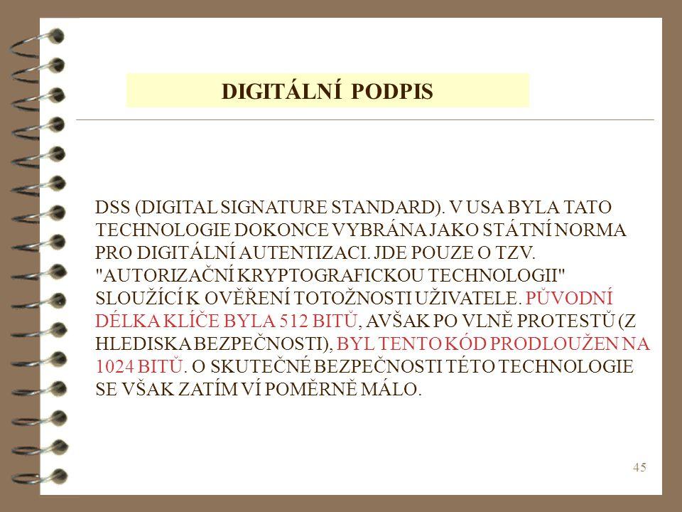 45 DIGITÁLNÍ PODPIS DSS (DIGITAL SIGNATURE STANDARD).