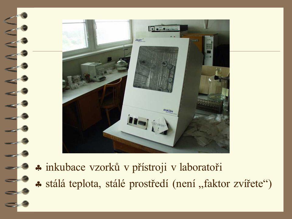 """ inkubace vzorků v přístroji v laboratoři  stálá teplota, stálé prostředí (není """"faktor zvířete"""")"""