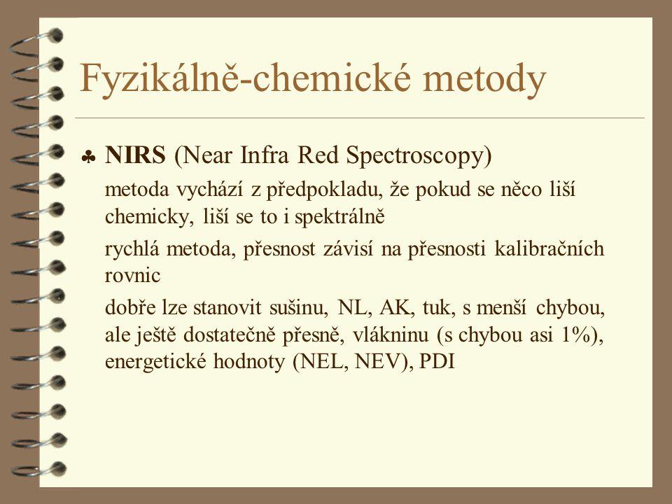 Fyzikálně-chemické metody  NIRS (Near Infra Red Spectroscopy) metoda vychází z předpokladu, že pokud se něco liší chemicky, liší se to i spektrálně r