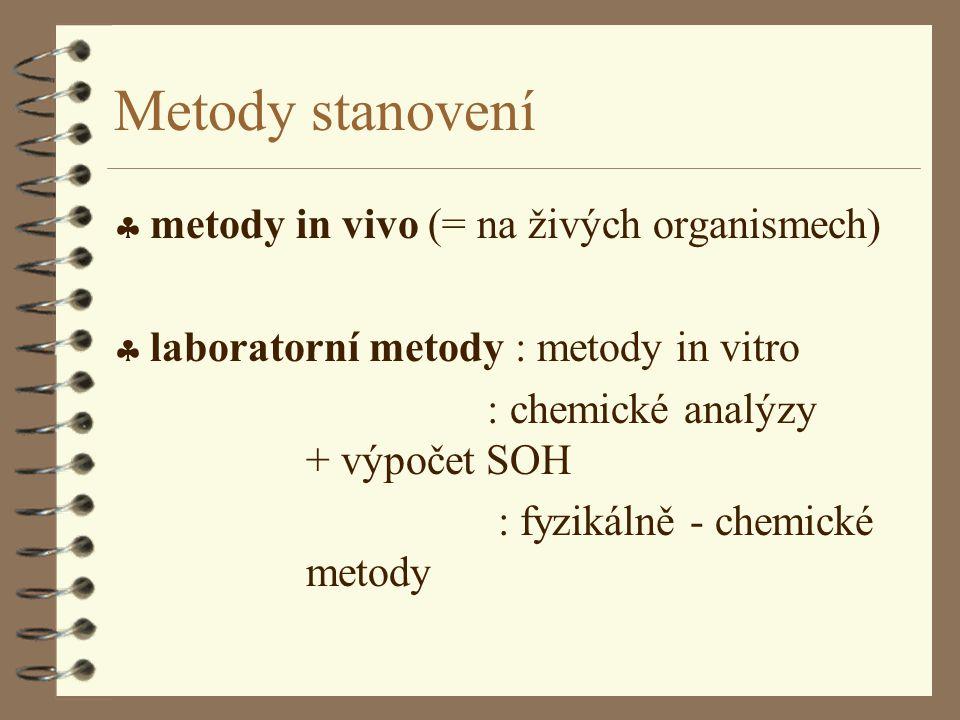 Metody stanovení  metody in vivo (= na živých organismech)  laboratorní metody : metody in vitro : chemické analýzy + výpočet SOH : fyzikálně - chem