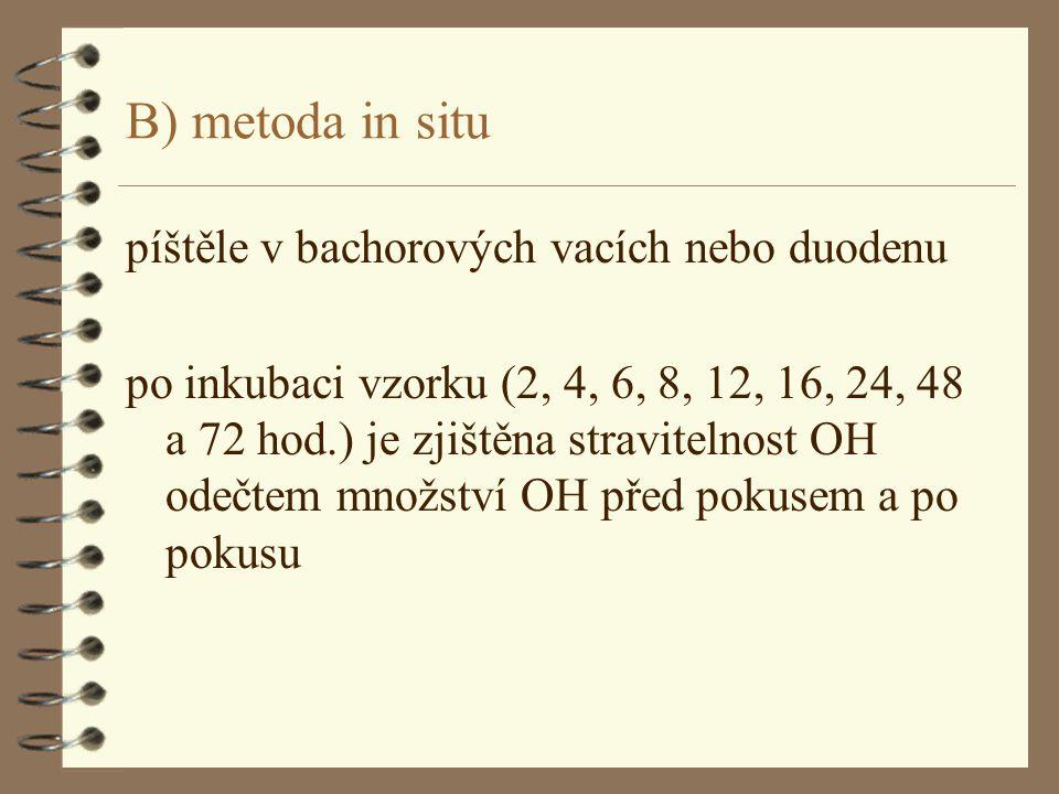B) metoda in situ píštěle v bachorových vacích nebo duodenu po inkubaci vzorku (2, 4, 6, 8, 12, 16, 24, 48 a 72 hod.) je zjištěna stravitelnost OH ode