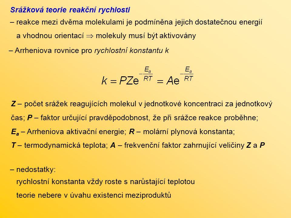 – Arrheniova rovnice pro rychlostní konstantu k Z – počet srážek reagujících molekul v jednotkové koncentraci za jednotkový čas; P – faktor určující p