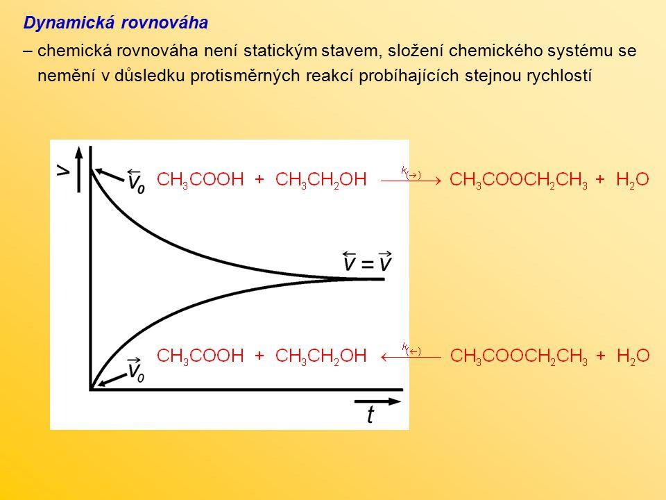 Dynamická rovnováha – chemická rovnováha není statickým stavem, složení chemického systému se nemění v důsledku protisměrných reakcí probíhajících ste
