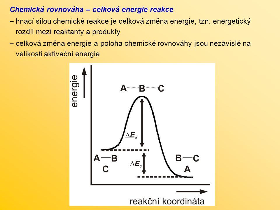 Chemická rovnováha – celková energie reakce – hnací silou chemické reakce je celková změna energie, tzn. energetický rozdíl mezi reaktanty a produkty