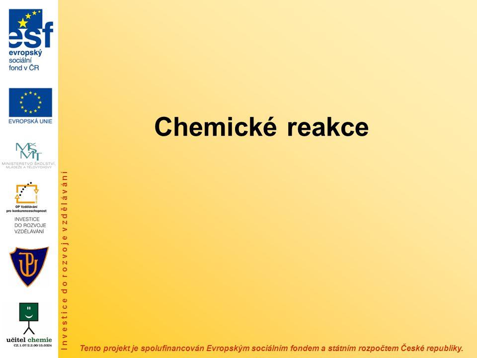 Rozsah chemické reakce – chemická rovnováha – míra, s jakou je reakční přeměna uskutečněna – problematiku chemické rovnováhy řeší chemická termodynamika – ve stavu chemické rovnováhy se složení systému nemění – kvantitativní charakteristikou chemické rovnováhy je rovnovážná konstanta K – porušením chemické rovnováhy, např.