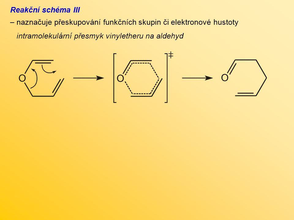 Reakční schéma III – naznačuje přeskupování funkčních skupin či elektronové hustoty intramolekulární přesmyk vinyletheru na aldehyd