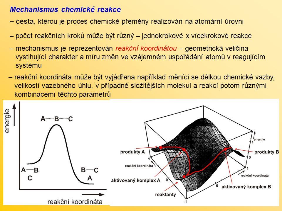 Rychlost chemických reakcí – rychlost v, se kterou se reaktanty mění na produkty a A + b B  c C + d D – lze obecně postihnout sledováním změn koncentrace jednotlivých komponent reakčního systému kde c(A) – c(D) jsou molární koncentrace jednotlivých reaktantů a produktů; a – d jsou stechiometrické koeficienty; t je čas