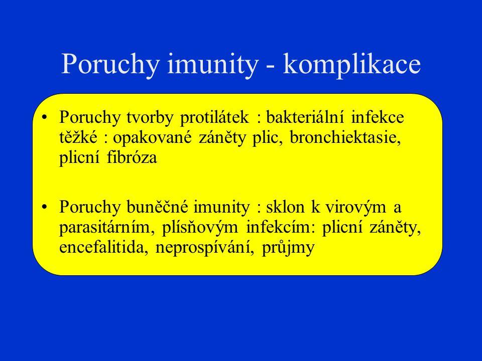 Poruchy imunity - komplikace Poruchy tvorby protilátek : bakteriální infekce těžké : opakované záněty plic, bronchiektasie, plicní fibróza Poruchy bun