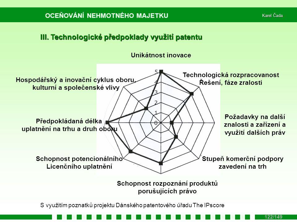 OCEŇOVÁNÍ NEHMOTNÉHO MAJETKU Karel Čada 122/149 III. Technologické předpoklady využití patentu Unikátnost inovace Technologická rozpracovanost Řešení,