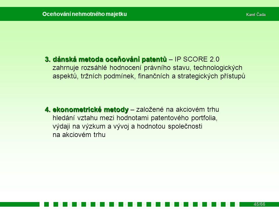 Karel Čada 45/66 Oceňování nehmotného majetku 3. dánská metoda oceňování patentů 3. dánská metoda oceňování patentů – IP SCORE 2.0 zahrnuje rozsáhlé h