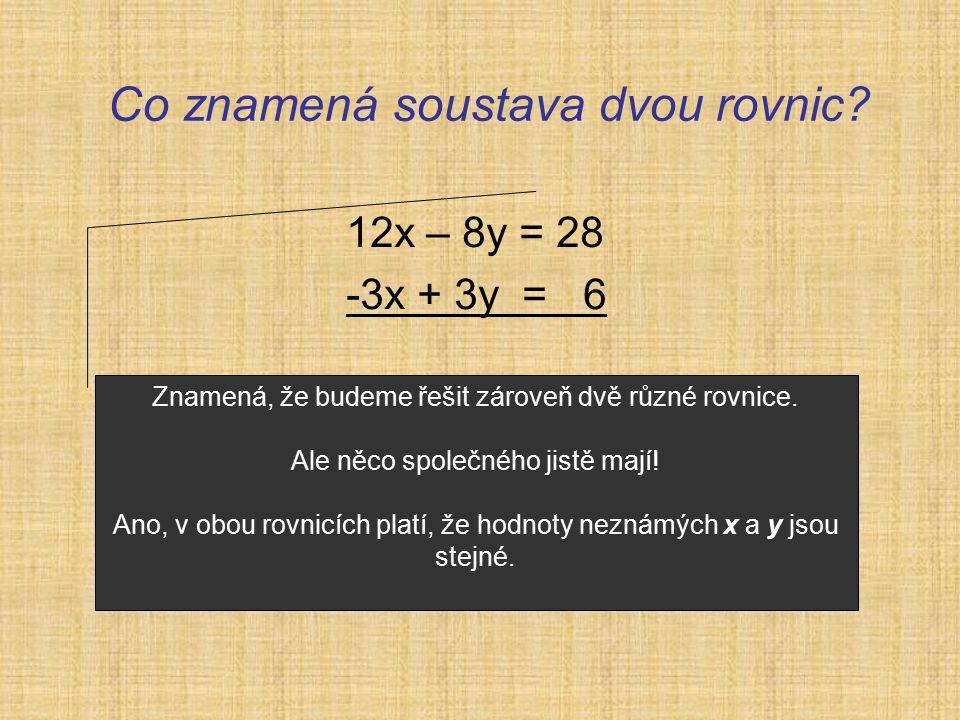 Co znamená soustava dvou rovnic.