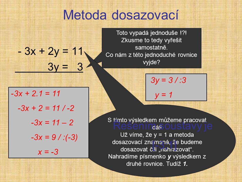 Metoda dosazovací - 3x + 2y = 11 3y = 3 Toto vypadá jednoduše ! .