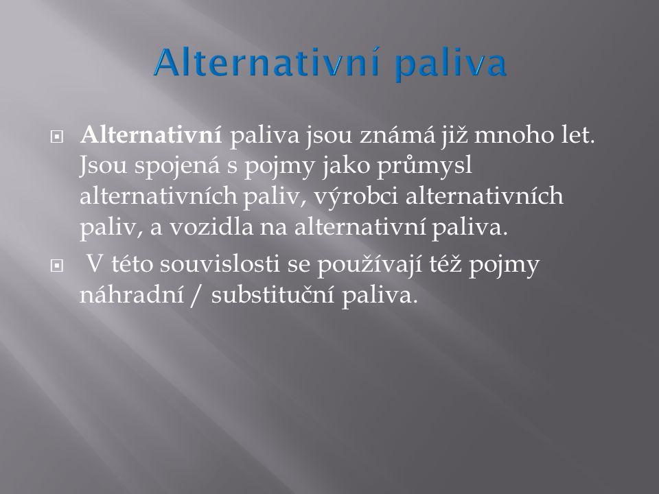  Alternativní paliva jsou známá již mnoho let.