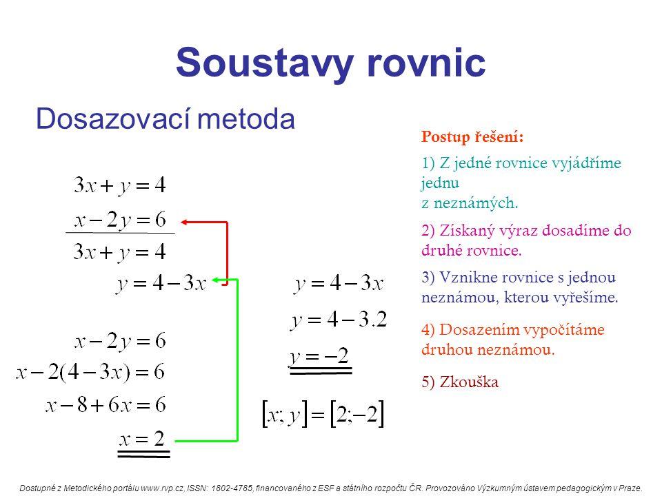 Soustavy rovnic Dosazovací metoda Postup ř ešení: 1) Z jedné rovnice vyjád ř íme jednu z neznámých.